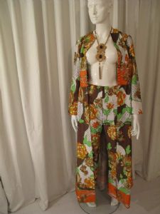 Late 1960's vintage full length coat and flared pants suit by Global **SOLD**